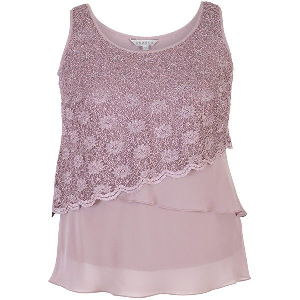 Chesca Scallop Lace And Chiffon Cami (9615 RSD) ❤ liked on Polyvore featuring intimates, camis, plus size camisoles, floral print cami, layering camisole, women's plus size camisoles and purple camisole