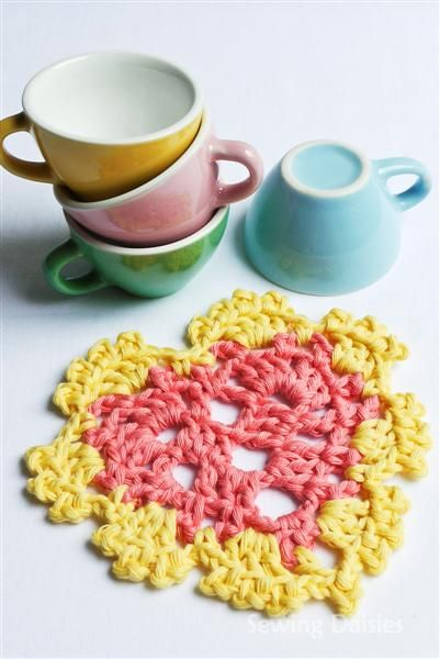 Crochet: Espresso Heart Coasters - Sewing Daisies