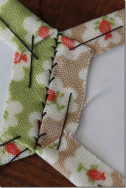 Stitching-close-up. A way to stitch hexes together so the stitches are hidden on the front. Way Better!
