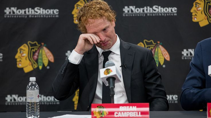 Brian Campbell gets emotional after talking about his time as a Blackhawk.