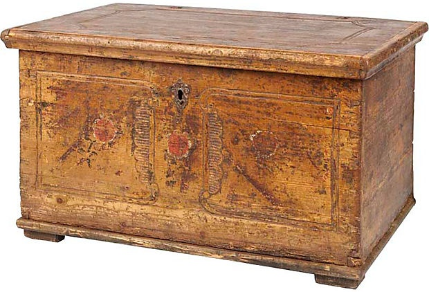 Hand-painted one-of-a-kind antique chest discovered at a Central European market; 32″L × 20″W × 19″H.