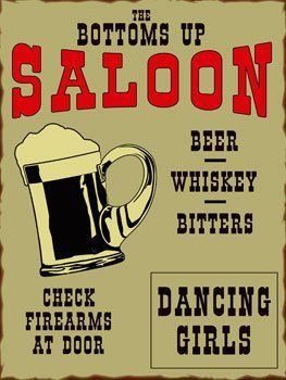 """Bottoms Up Saloon Metal Sign: Novelty Decor Wall Accent by OMSC. $19.50. Eco-friendly process, hand-made in the USA. Ships in Ploy-bag for complete protection. This sign measures 16"""" x 12"""" (400 mm x 300 mm). Rounded corners with holes for easy hanging. Glossy, full-color, enamalized imaged baked onto thick, 24-gauge steel. The """"Bottoms Up Saloon Metal Sign"""" is hand-made in America. These sturdy metal signs will perfectly accent any kitchen, home, bar, pub, game r..."""