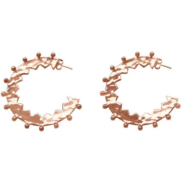 Maya Rose Gold Large Hoops by Murkani Jewellery ($135) ❤ liked on Polyvore featuring jewelry, earrings, rose, handcrafted jewelry, rose gold stud earrings, handcrafted earrings, rose jewellery and handcrafted jewellery