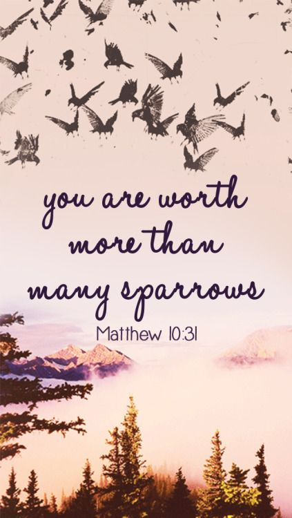 So don't be afraid; you are worth more than many sparrows. - Matthew 10:31 Let us continue torememberthat we are all so precious in God's eyes:)