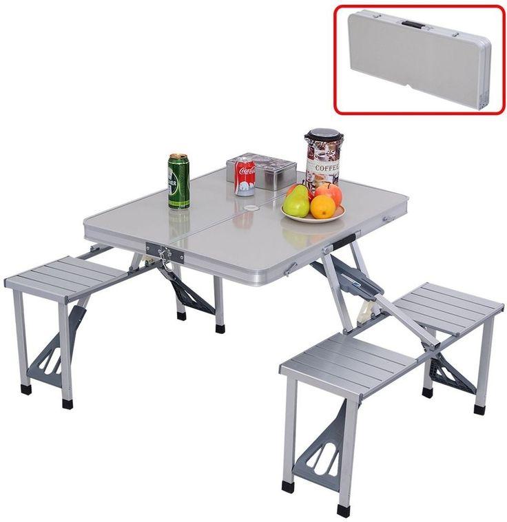 Aluminum Folding Picnic Table Portable Camping Outdoor Garden Carry Case 4 Seat #Outdoor