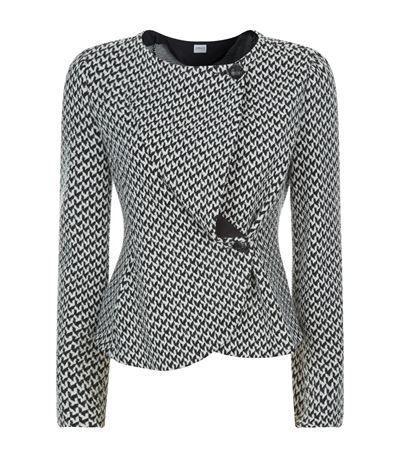 Armani Collezioni Textured Hounstooth Collarless Jacket | Harrods