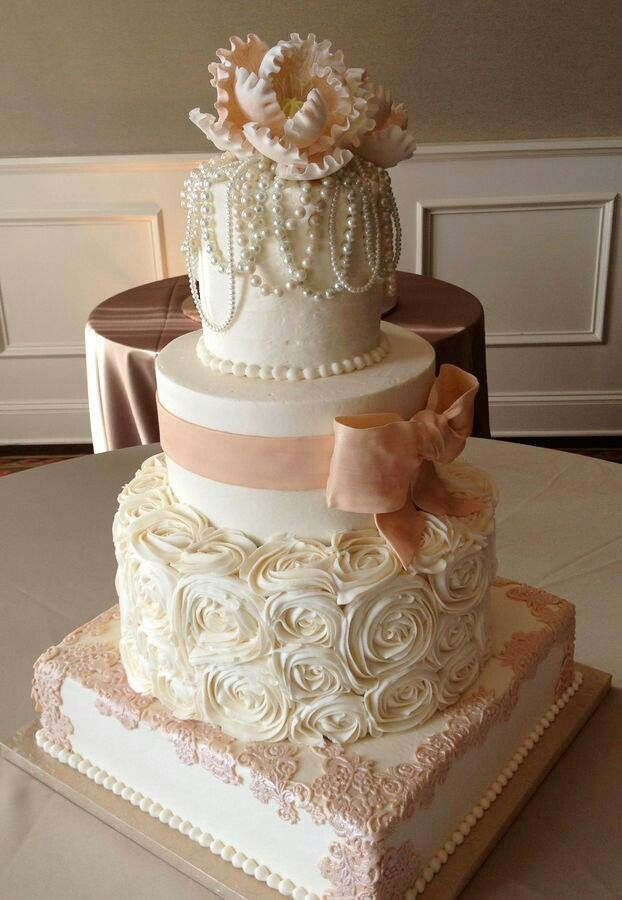 Wedding Cake Square And Round Tiers In Pink And White With Pearls