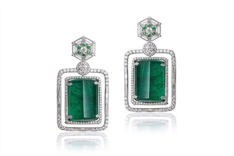 """""""The Jewel of Growing"""" Finest rare emeralds and diamonds Earrings."""