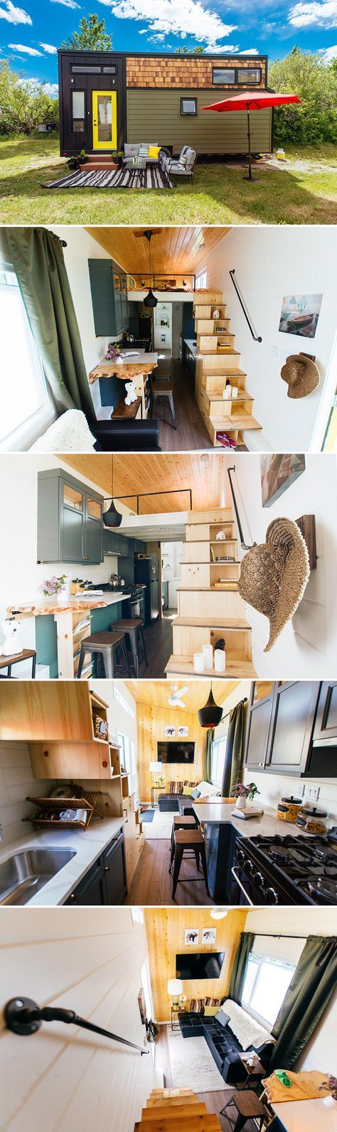 The 24-foot Not So Lonely Wanderer was built by Canadian builder Teacup Tiny Homes and has a galley kitchen, king bedroom loft, and large bathroom.