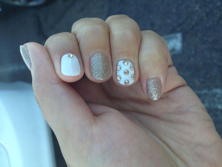 Gold + white nails