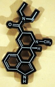 Image of LSD Molecule pin (Glows in the dark) hatpin