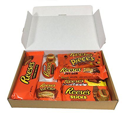 Reeses American Bumper Candy Feast of Sweets Gift Box from Britten & James. 12 peanut butter items in a smart letterbox friendly retro sweets hamper. Perfect for Christmas, birthdays and gifts.