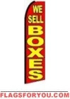 We Sell Boxes (Red & Yellow) Feather Flag 2.5' x 11.5'