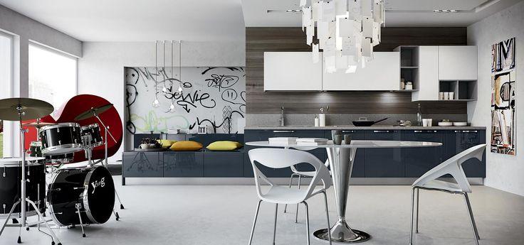 Cucina moderna round finitura petrolio e bianco vani a - Cucine grigio perla ...
