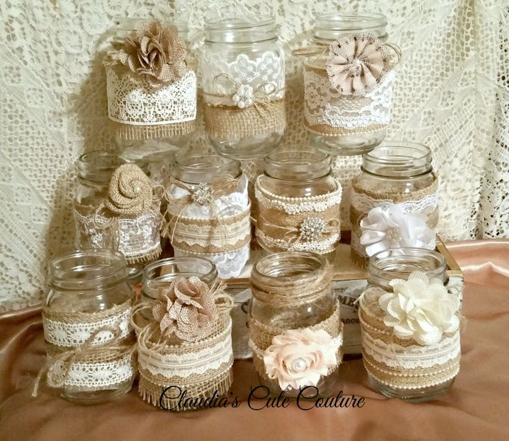 Country Wedding Mason Jars: 25+ Unique Mason Jar Burlap Ideas On Pinterest