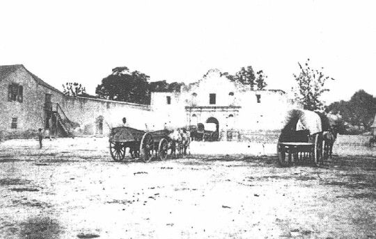 The oldest photo of the Alamo, San Antonio, Texas, 1860.