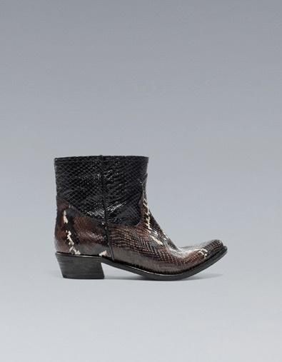FASHION SNAKESKIN COWBOY ANKLE BOOT - Shoes - Woman - ZARA United Kingdom