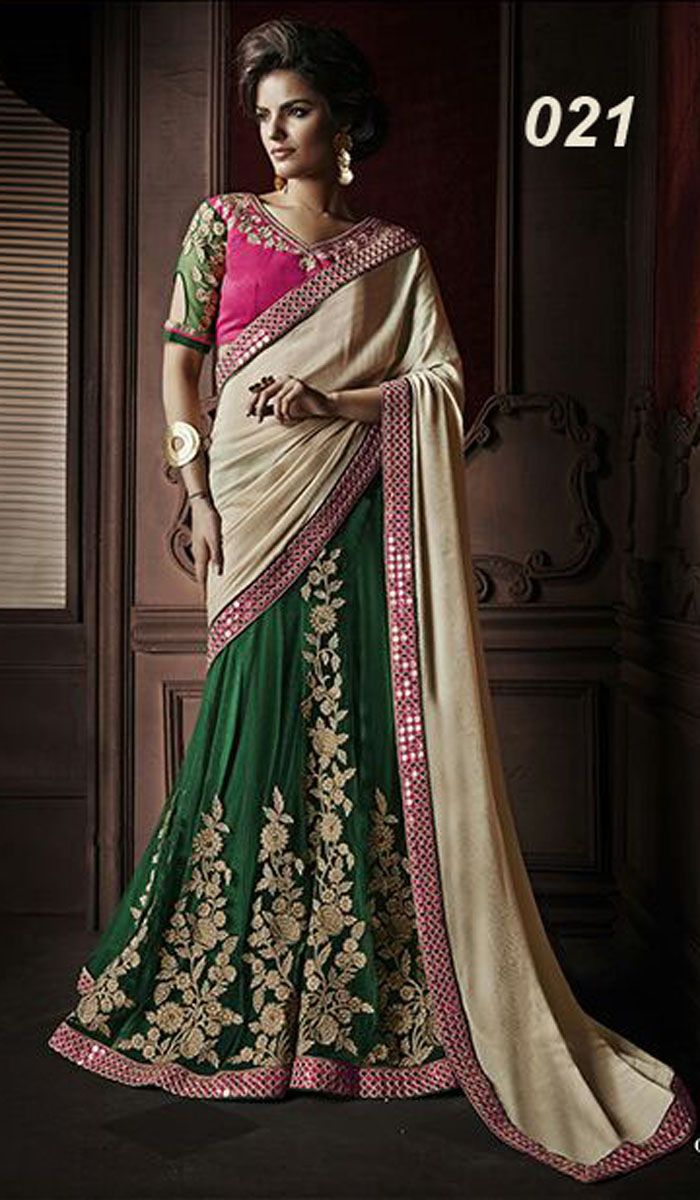 Pallu - Georgette With Embroidered Lace Lehnga Saree - Heavy Kali Work On Net Wit Santin Inner Blouse - Necklace Work on Banglori Silk And Net Sleeves