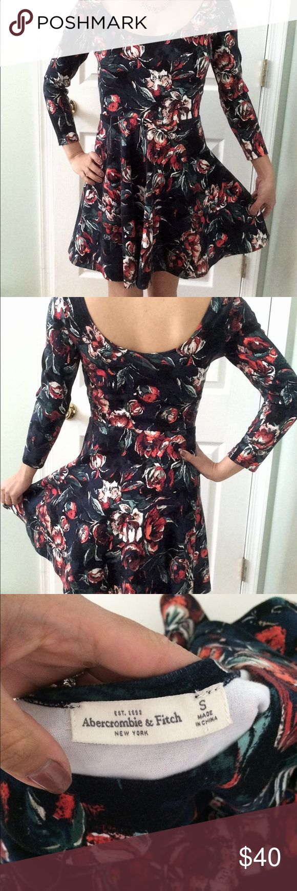 Abercrombie black and floral dress size small Adorable Abercrombie dress, new without tags, tried on but never worn. Size small, fitted at natural waist and flares out beautifully Abercrombie & Fitch Dresses Long Sleeve