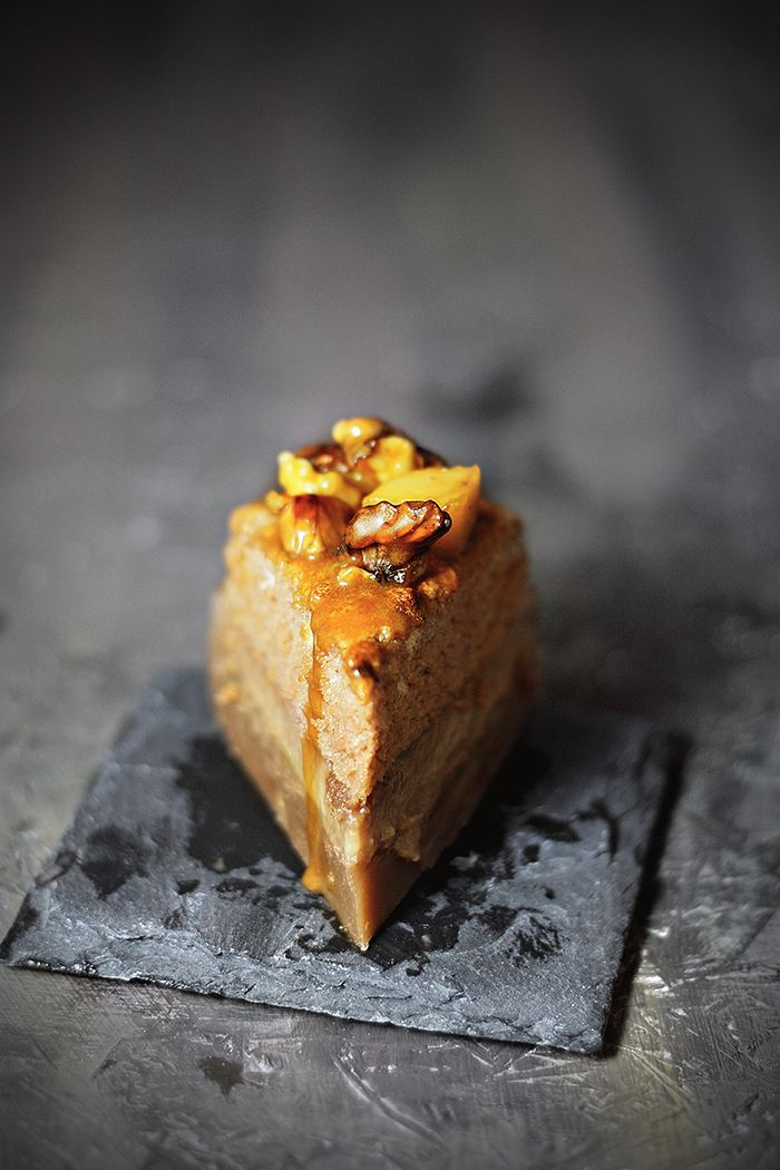 Magic Custard Cake with Walnuts, Quince and Salted Caramel Sauce: