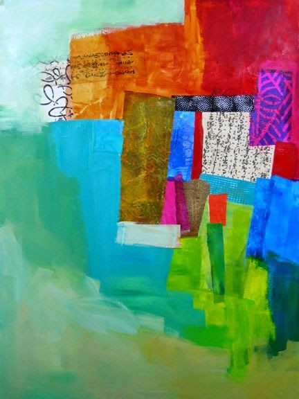 collage journeys: A Peek at Process (collage layers and paint, Jane Davies)