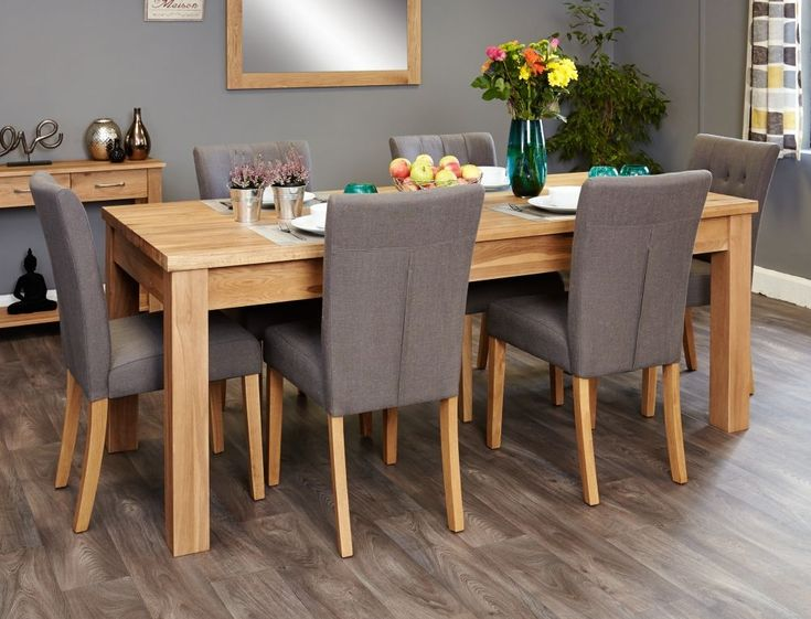 Bundle Oak Dining Set Extending Table 6 Flare Back Upholstered Chairs
