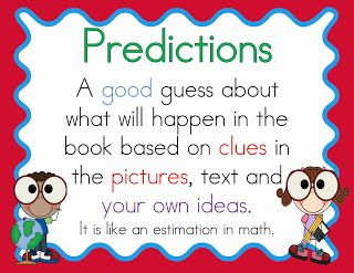 Ideas for teaching students to make predictions before they read and mini-posters to use as anchor charts.
