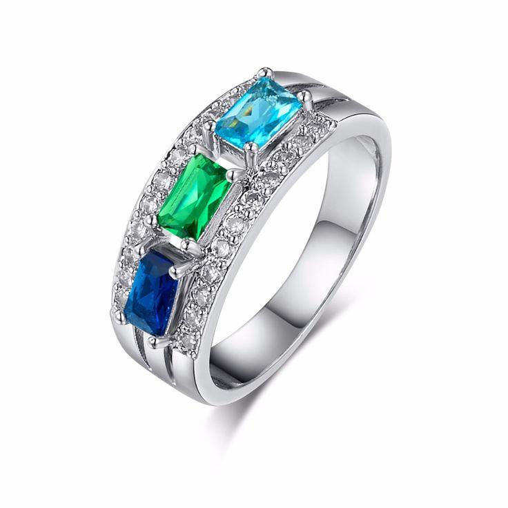 Top Kwaliteit Nieuwe Mode Blauw Groen AAA Zirkoonkristal Zilveren Ring voor Vrouwen Luxe Sieraden Bruiloft Vinger Ringen Groothandel