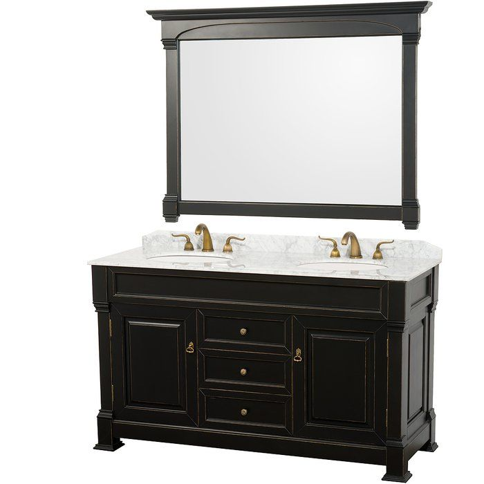 Andover 60 Double Bathroom Vanity Set With Mirror Black Vanity