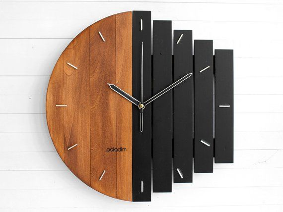 Industrial Wall Clock Unique Wall Clock Home Gift Clock Unusual Wall Clock Component Clock Wood Clock Abstract Style Industrial Decor In 2020 Industrial Clock Wall Clock Wall Decor Wooden Clock
