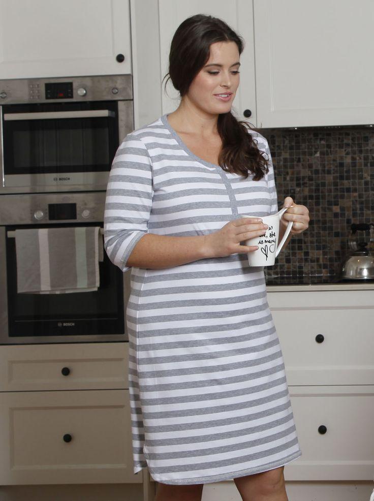 Button Front Nursing Night Dress - Grey Stripes, $49.95, is a super comfortable button front night dress with easy nursing access.