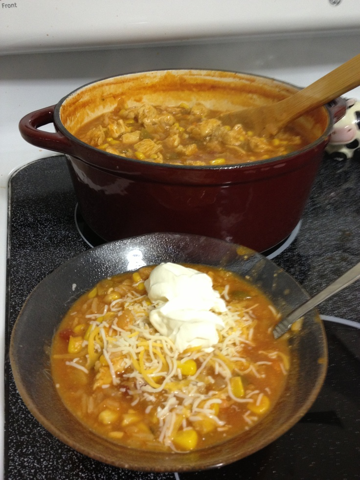Chicken tortilla rice soup: 2 chicken breasts (thawed) 1 2c. Jar chunky salsa  2 c. Chicken broth 1 can corn  (drained) 1/2 onion diced 1 whole carrot diced 1/2 c. Uncooked rice (or more too your liking) Cumin, chili powder, & garlic powder Salt & pepper to taste.  (Could add black beans, I didn't have any on hand) & hot sauce if you desire.   Sauté chicken with EVOO in bottom of a cast iron Dutch oven or 2qt pan. Season cooking chicken moderately with cumin, chili powder, and garlic powder…
