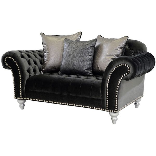 "El Dorado Furniture - Laura Black 77"" Loveseat ($1,449) ❤ liked on Polyvore featuring home, furniture, sofas, black couch, colored furniture, black love seat, plush sofa and black loveseat"