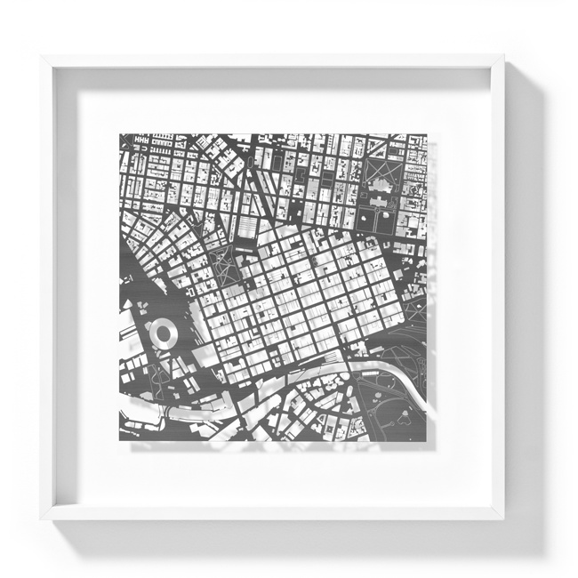 Melbourne Stainless Steel Stencil framed map