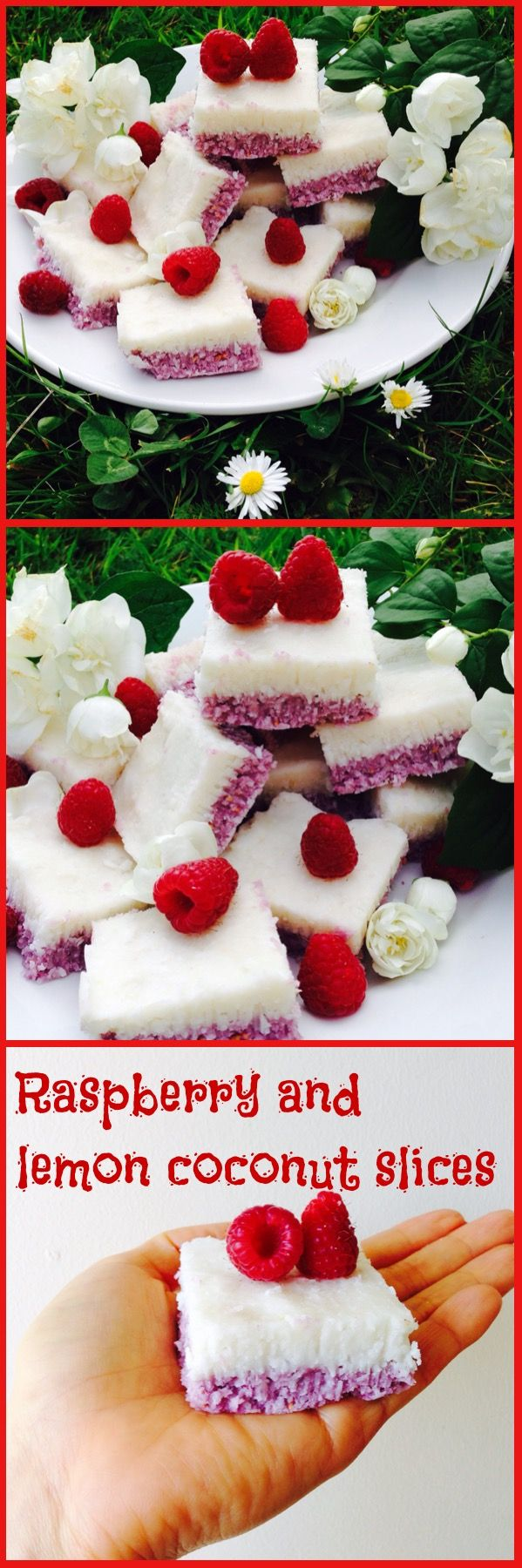 Clean eating dessert raspberry and lemon coconut slices. Rich, indulgent, gluten free, dairy free, refined sugar free, vegan, vegetarians and paleo friendly!