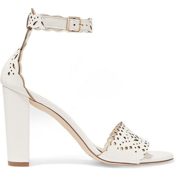 J.Crew Charlotte laser-cut leather sandals (522 AUD) ❤ liked on Polyvore featuring shoes, sandals, heels, white, strappy heel sandals, strappy sandals, ankle strap sandals, white ankle strap sandals and high heel shoes