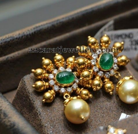 Jewellery Designs: Gold and Emerald Drops Earrings
