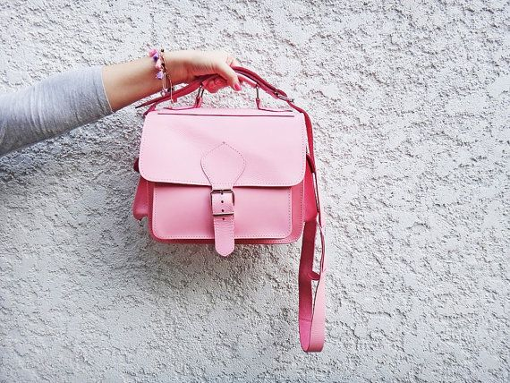 Twininas handmade full grain pink or tan leather diaper bag. Can double for a Messenger or camera bag.  Color: PINK or ROYAL BLUE and new additions TAN,