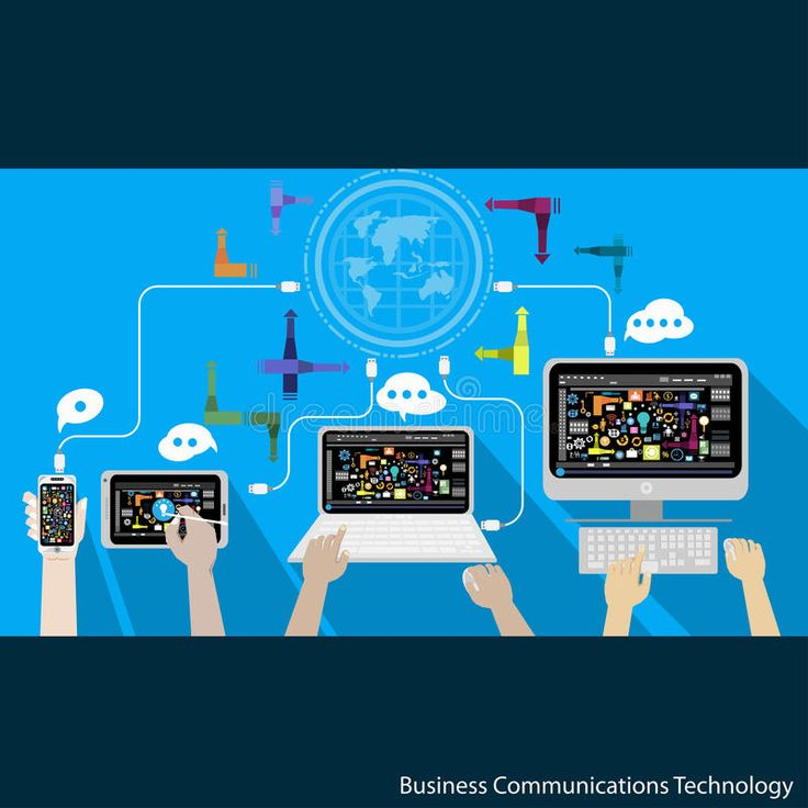 Vector Business Communications Technology with phone tablet laptop and computer. , #Aff, #Technology, #phone, #Communications, #Vector