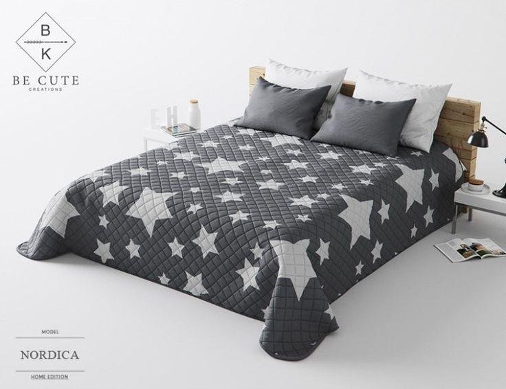 Narzuty pikowane szare na łóżko do sypialni w gwiazdki