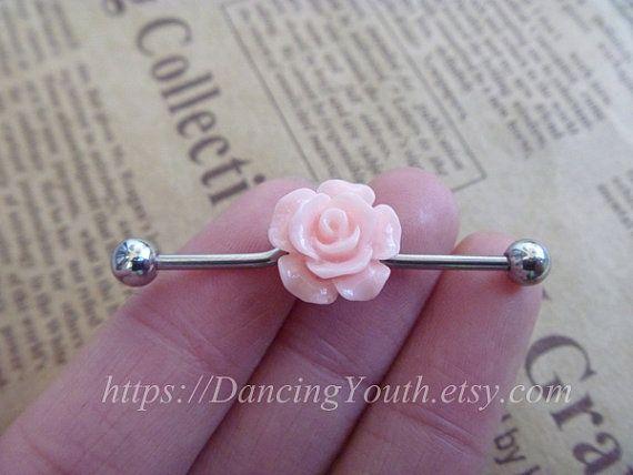 Lovely Resin Flower industrial barbell, Industrial Barbell, piercing,industrial barbell earring jewelry, on Etsy, $7.59
