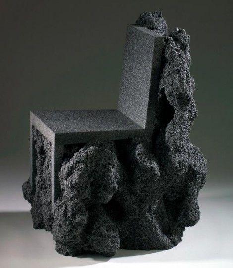 sièges sculptures, Ian Blasco, Volcanic Rock Chair,