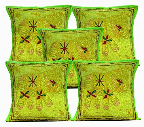 5 Green Indian Sequin Embroidery Ethnic Elephant Design Throws Pillow Cushion Covers Krishna Mart India http://www.amazon.com/dp/B011RH9WSK/ref=cm_sw_r_pi_dp_NCaywb16DYC3D