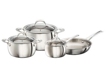 Features/Specifications Product code: RHPS07 High mirror finish Material 18/10 - 0.8mm Thickness 4.5mm Encapsulated base on cookware 5.5mm Encapsulated base on the frypan Stainless Steel Cool Touch Handles Full colour gift box Tempered Glass Kids with steam vent Set consists of: 2.2L Saucepan with Lid 4L Casserole with Lid 6.5L Casserole with Lid 24cm Frypan - No Lid