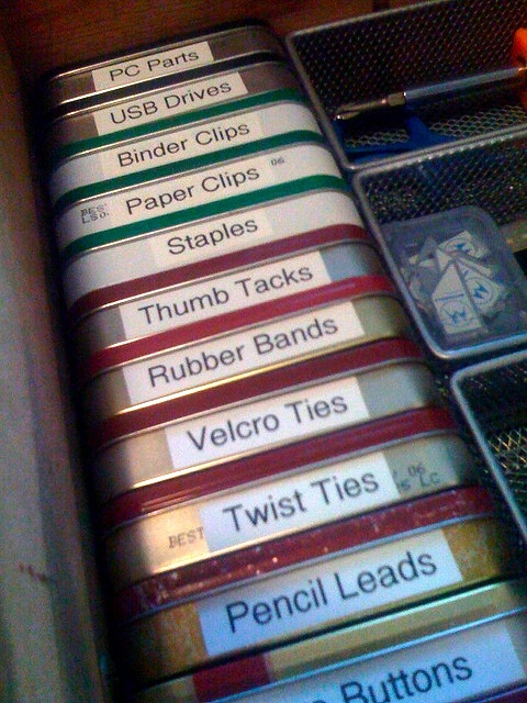 Use old altoid tins for office organization I eat altoids all the time and even have some in my desk drawer
