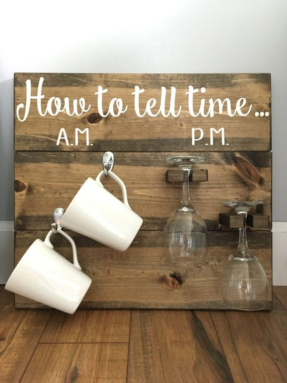 How to tell time... coffee/wine by CarpenterCoCreations on Etsy