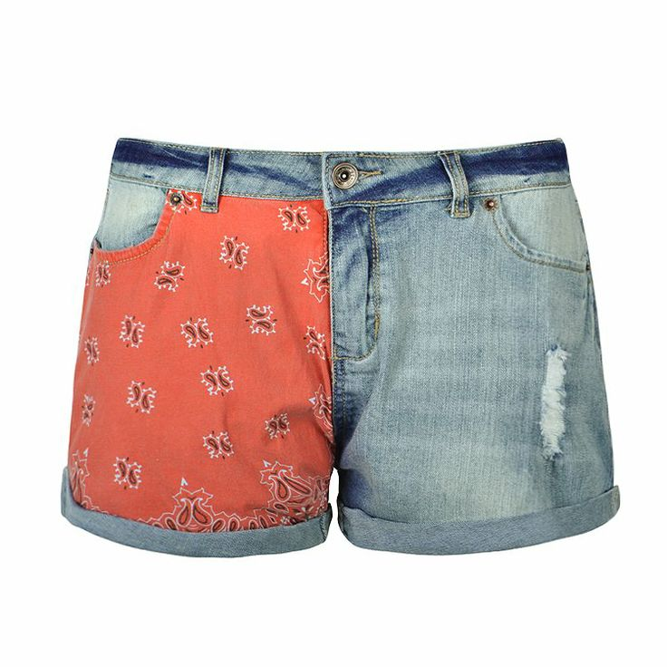 RED PAISLEY PATCH DENIM SHORT