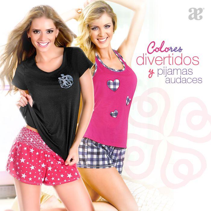 Mía de Andrea se identifica por manejar colores y siluetas súper frescas, así mismo, conserva esta línea en la amplia gama de pijamas.