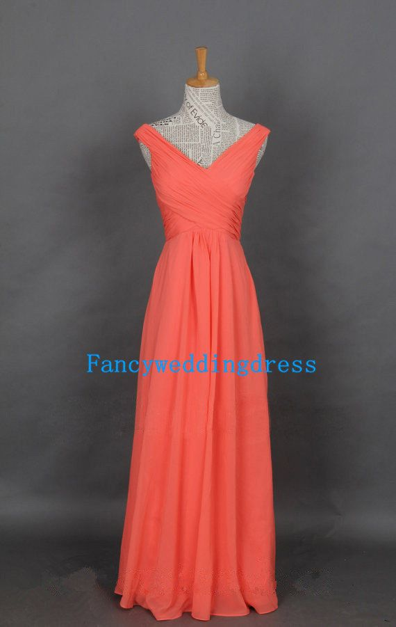 2014 New Coral Ruffle Sleeveless Empire by Fancyweddingdresses, $92.00