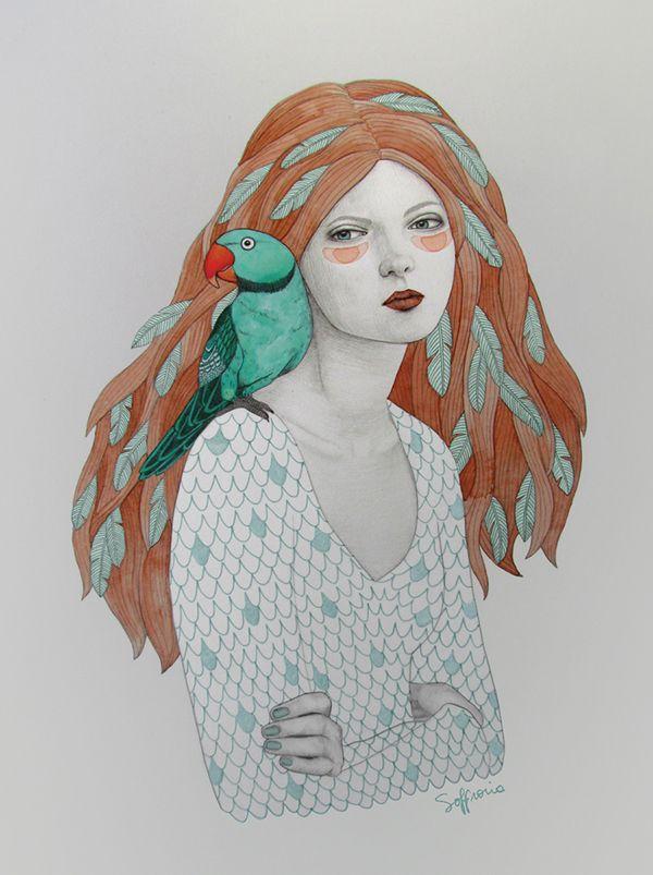Ava (Girls with animals series) by Sofia Bonati